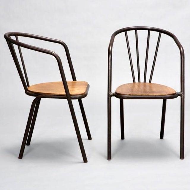 Set of 6 Mid Century Metal & Wood Armchairs - Image 4 of 7