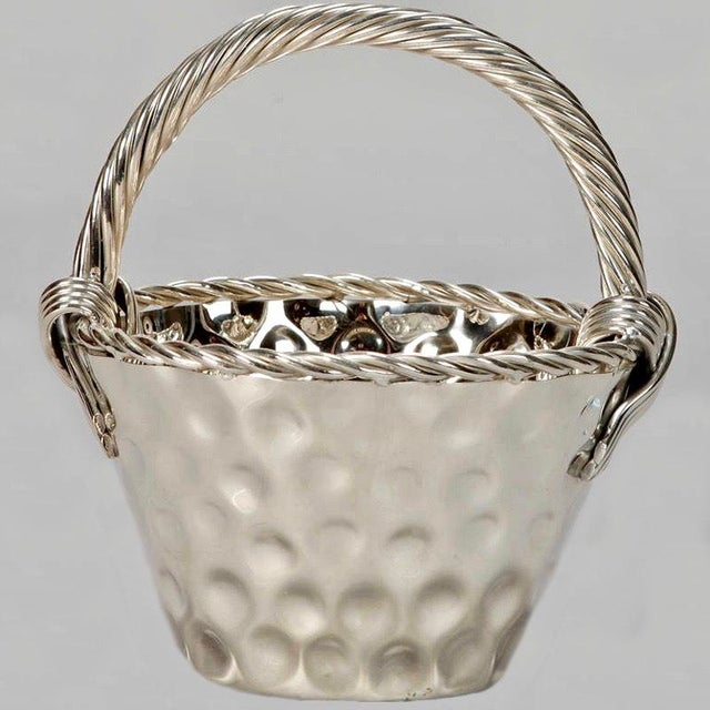 Mid Century Hammered Silver Plate Tall Handled Basket - Image 8 of 8