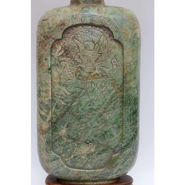 Large Table Lamp Exquisitely Carved Asian Soapstone Vessel . 1940s - Image 4 of 11