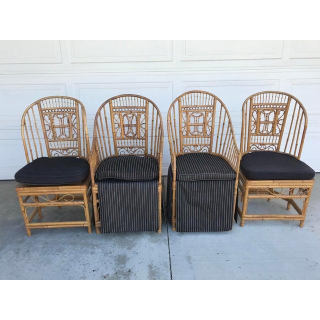 Thomasville Brighton Pavillion Vintage Rattan Chair - Set of Four For Sale - Image 13 of 13