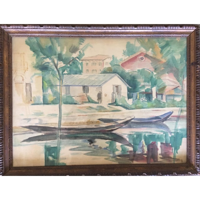 Boho Chic Landscape Watercolor Painting on Paper by Emanuel Fohn For Sale - Image 3 of 8