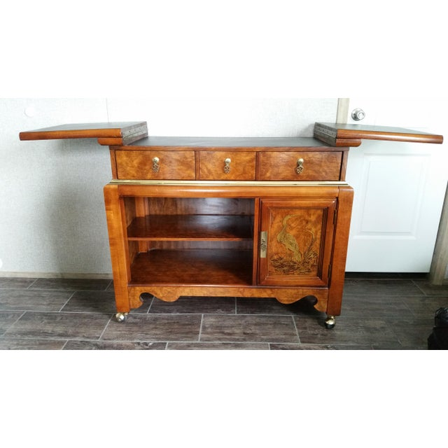 Brass Oriental-Inspired Rolling Credenza Sideboard For Sale - Image 7 of 13