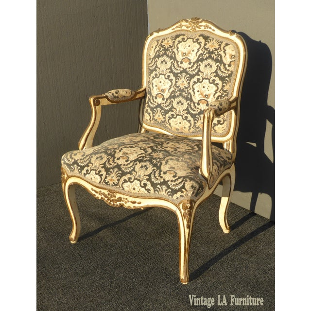 Vintage French Provincial Carved Blue Floral Velvet Accent CHAIR Gold Trim Gorgeous, Gorgeous and Gorgeous!!! UNIQUE CHAIR...