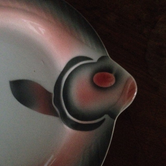 Country French Porcelain Fish Plate For Sale - Image 3 of 9