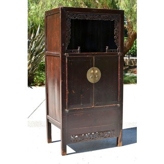 19th Century Chinese Open Light Grapevines Detailed Wooden Display Cabinet Preview