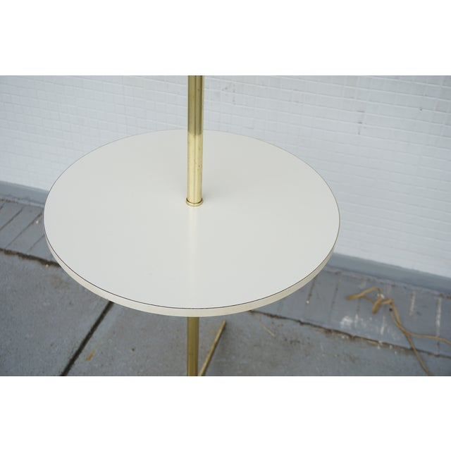 Danish Modern Vintage Mid-Century Paul McCobb Style Brass Floor Lamp Table For Sale - Image 3 of 11