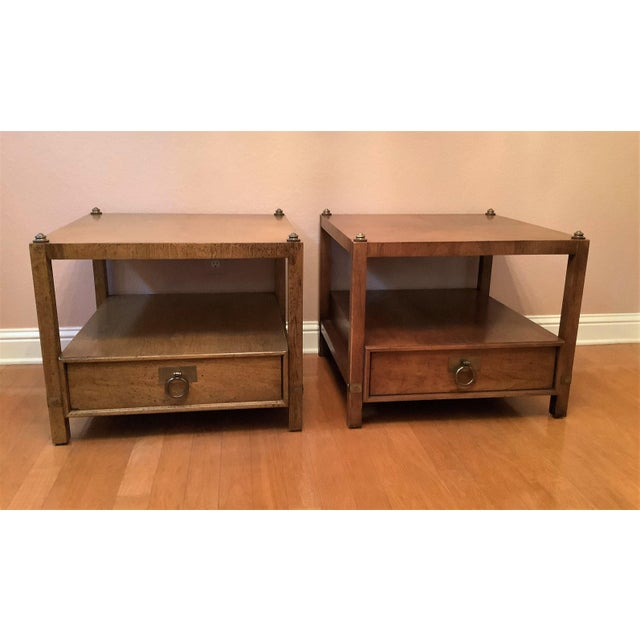 Vintage Henredon Wood + Brass End Tables - a Pair For Sale - Image 13 of 13