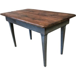 French Antique Scrub Top Farm Table For Sale