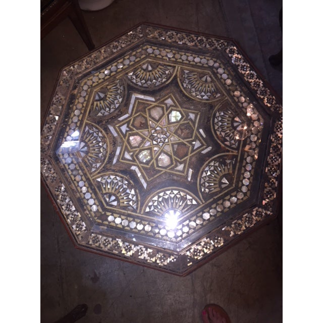 Vintage Octagon Mother of Pearl Inlay Table Estate of Freddy Fields. Moroccan made.