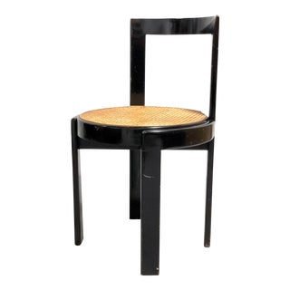 Mid Century Italian Modern Bentwood Cane Black Round Chair For Sale