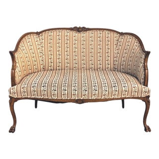 1960s Vintage Louis XV Style Walnut Frame Canape Settee For Sale