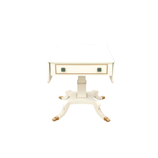 1980s Neoclassical Drop Leaf Side Table With Green Glass Knobs For Sale