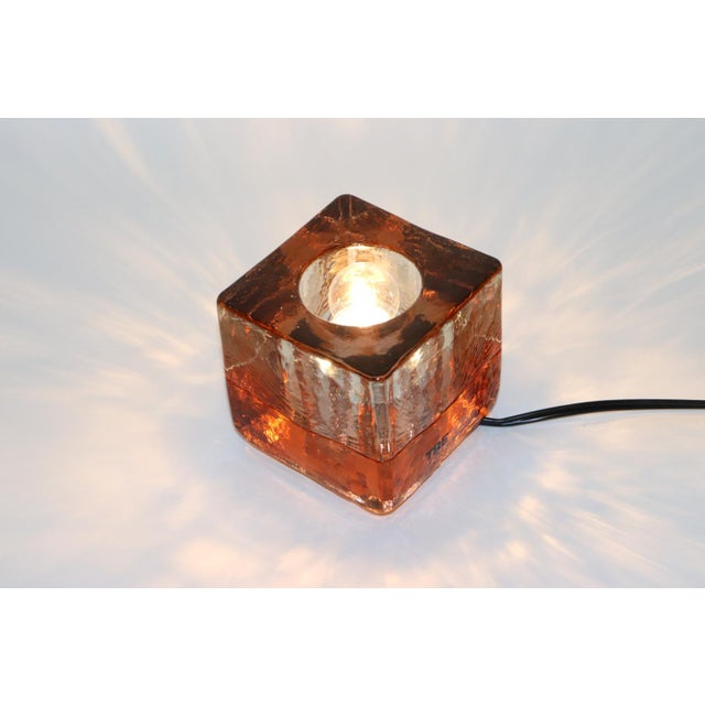 Orange Mid-Century Modern Murano Glass Table Lamp For Sale In New York - Image 6 of 13