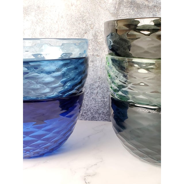 Not Yet Made - Made To Order Slate Blue Diamond Cut Bowl For Sale - Image 5 of 6