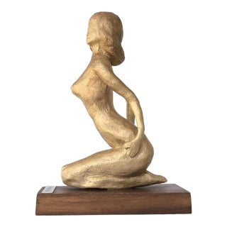 Mid Century Nude Woman on Her Knees Gilt Sculpture Statuette Plaster Gilded