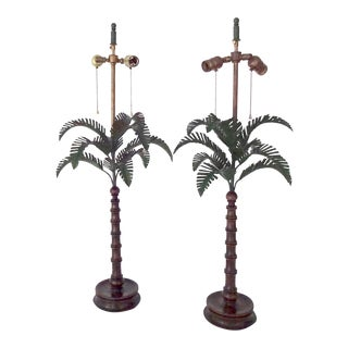 Palm Tree Wood Lamps - A Pair For Sale