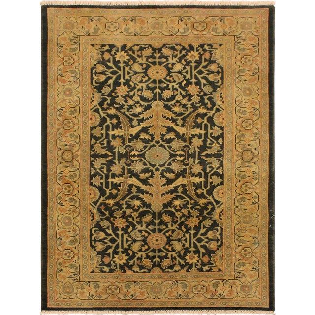 Antique Vintage Low Pile Thea Green Tan Wool Area Rug 3 2 X 5 1