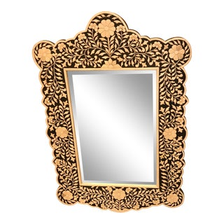 Hand-Made, Carved & Applied Bone Mirror, Made in India For Sale