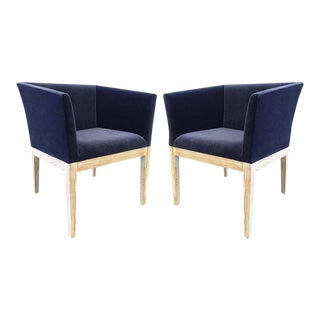 Pair of French Cerused Oak Club Chairs Style Francisque Chaleyssin