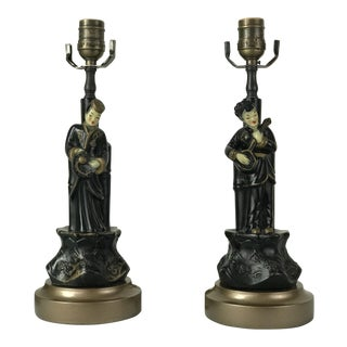 Vintage Black & Gold Lacquer Asian Figurine Lamps - a Pair