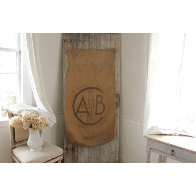 Hessian Rustic Sack Vintage French Burlap Circa 1952 for Framing Hanging 2 Sides For Sale - Image 4 of 4