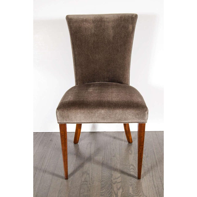 Fine Art Deco occasional or desk chair in tobacco brown mohair with splayed taper legs in mahogany. Restored to mint...