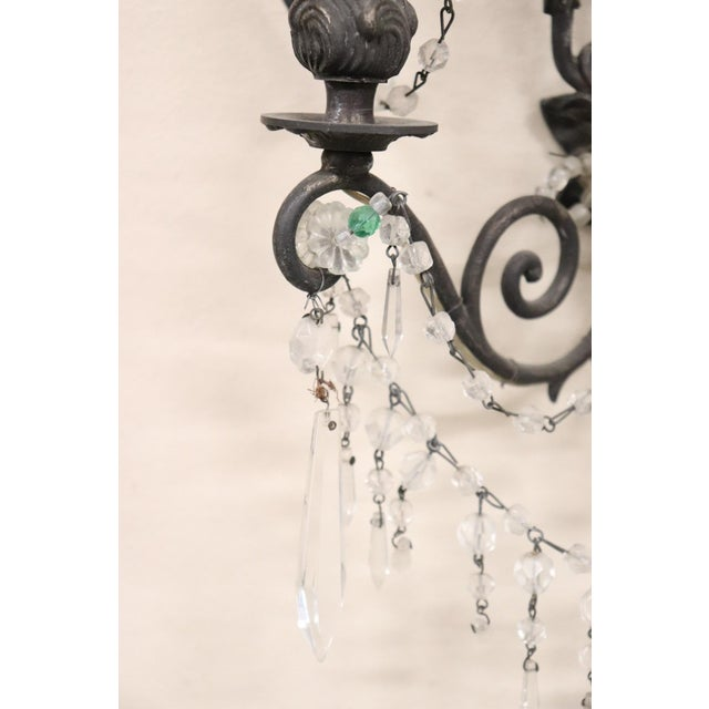1920s 20th Century Italian Bronze and Colored Crystals Swarovski Wall Light or Sconces For Sale - Image 5 of 7