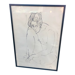 Framed Female Figure Line Drawing Signed Glaser For Sale