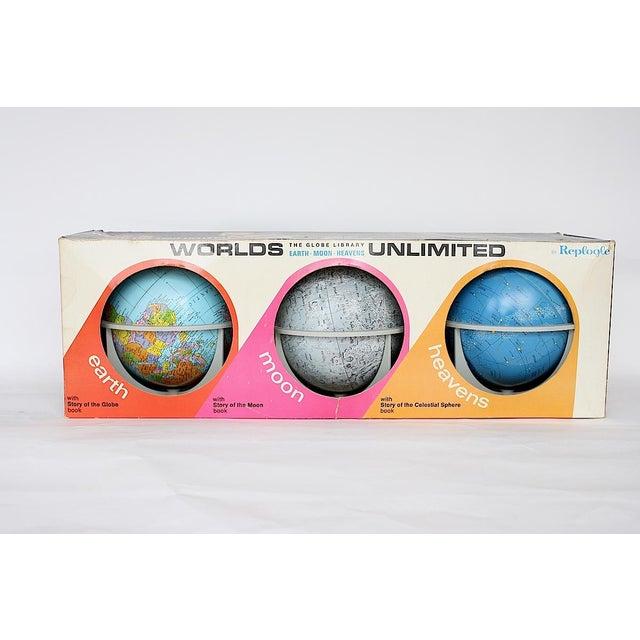 Children's Vintage Moon Celestial Earth Globes- Set of 3 For Sale - Image 3 of 11