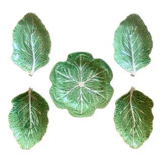 Vintage Portuguese Majolica Style Cabbage Plates For Sale
