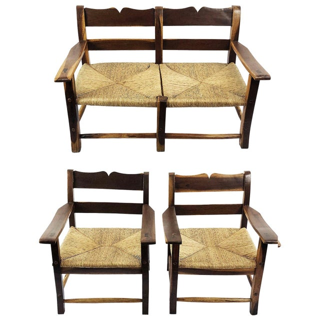 Brown Midcentury Livingroom Set in the Style of Clara Porset- 3 Pieces For Sale - Image 8 of 8