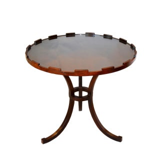 Round Walnut Side Table With Glass Top by Baker For Sale
