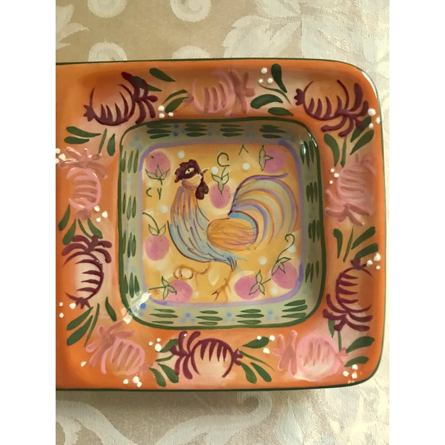 Modern Rooster Ceramic Painted Divided Dish/Tray For Sale - Image 4 of 5