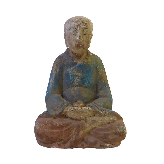 Chinese Rustic Wood Sitting Monk Statue - Image 1 of 5
