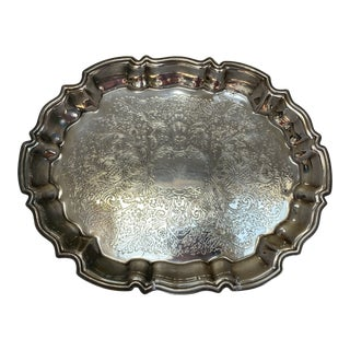 1970s Baroque Silverplated Footed Tray For Sale