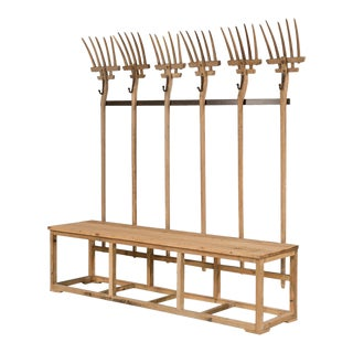 Sarreid LTD Pitchfork Bench & Hat Rack For Sale