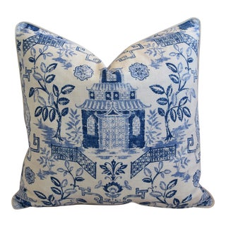 "Blue & White Chinoiserie Linen & Velvet Feather/Down Pagoda Pillow 26"" Square For Sale"