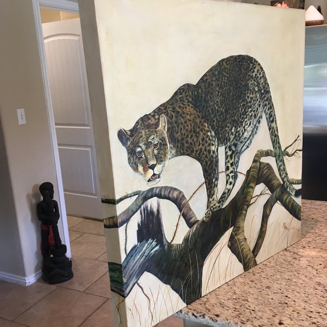 Primitive Mid-Century Leopard Oil Painting For Sale - Image 3 of 11