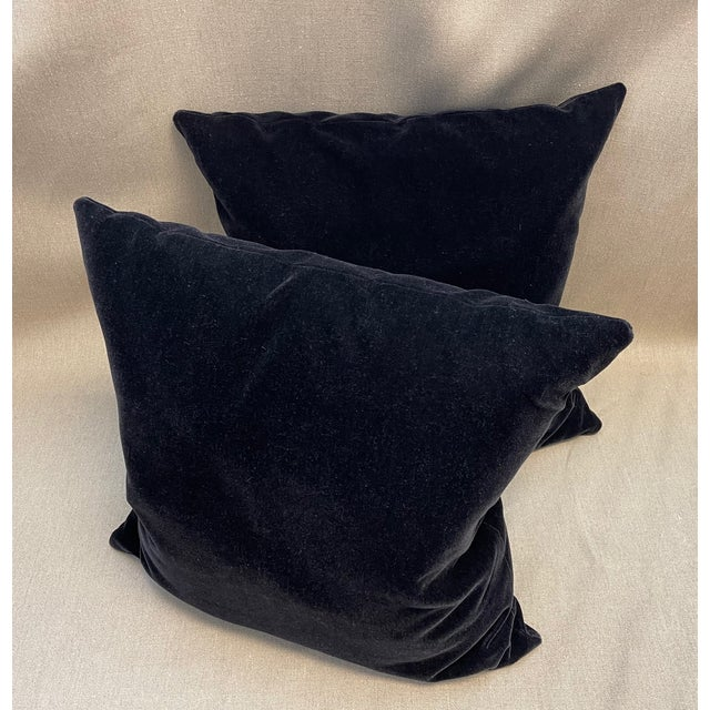 Contemporary Old World Weavers Black Mohair Throw Pillows - a Pair For Sale - Image 3 of 5