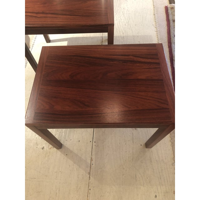 Mid-Century Modern Mobelfabrick Danish Mid Century Modern Richly Grained End Tables - a Pair For Sale - Image 3 of 13