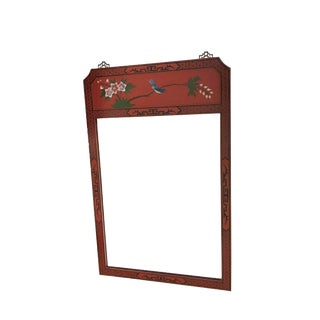 "Vtg Asian Lacquer Red Wood Mirror 34"" H"