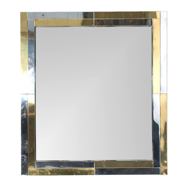 Brutalist Very Large 1970s Paul Evans Style Patchwork Chrome and Brass Mirror For Sale - Image 3 of 6