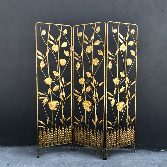 Vintage Italian Gilt Ironwork Tole Screen For Sale - Image 10 of 10