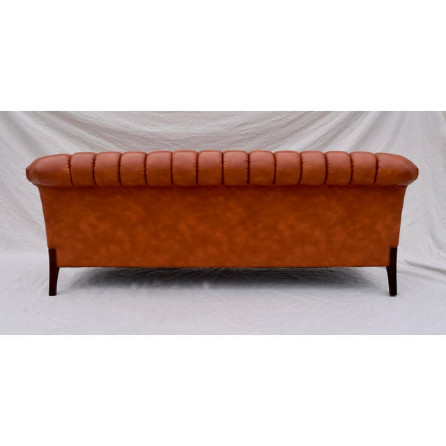 Orange Swedish Leather Chesterfield Sofa For Sale - Image 8 of 13