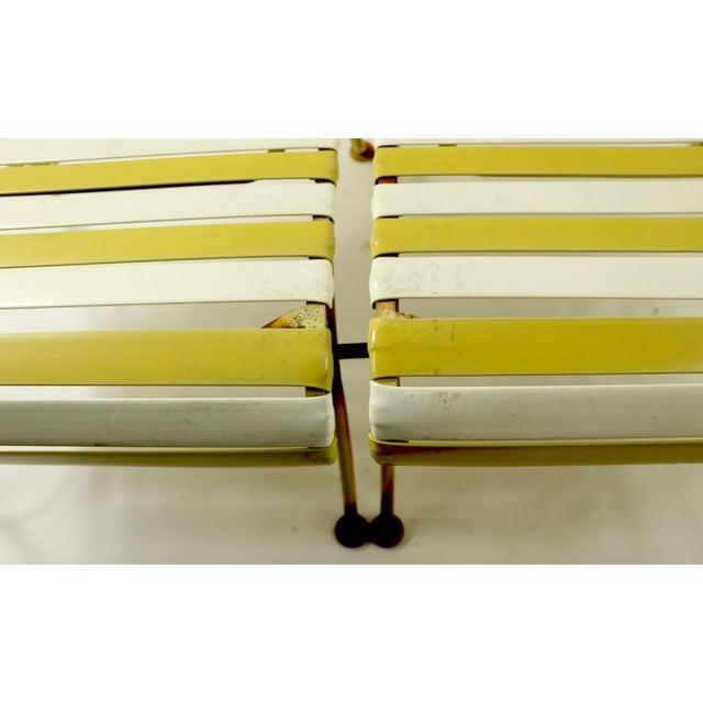 Metal Woodard Scroll Arm Plastic Strap Settee For Sale - Image 7 of 12
