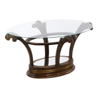 1950s Traditional Wood Carved and Gold Accented Cocktail Table For Sale