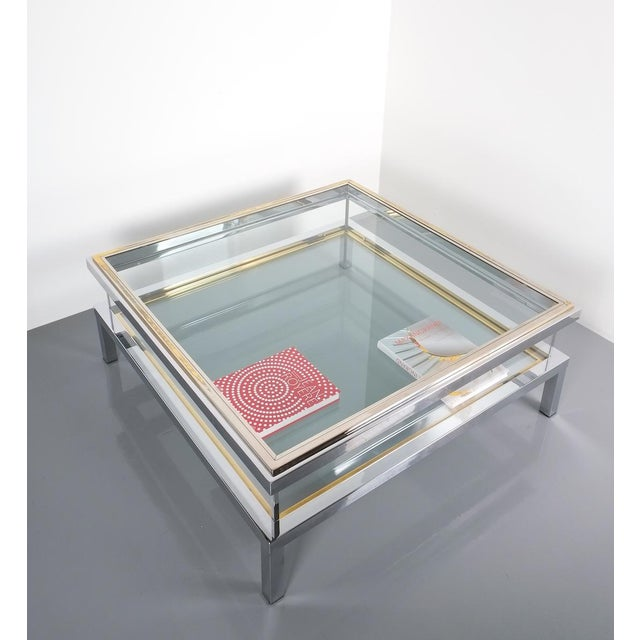 Gold Refurbished Large Maison Jansen Brass and Chrome Vitrine Coffee Table, 1970 For Sale - Image 8 of 12