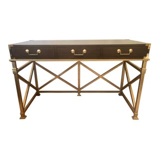 Campaign Pearson's Regency Walnut & Polished Brass Writing Desk For Sale