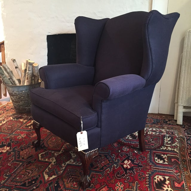 Fabulously classic Southwood wing chair with traditional ball and claw feet, nickel nailheads. Rebuilt and reupholstered...