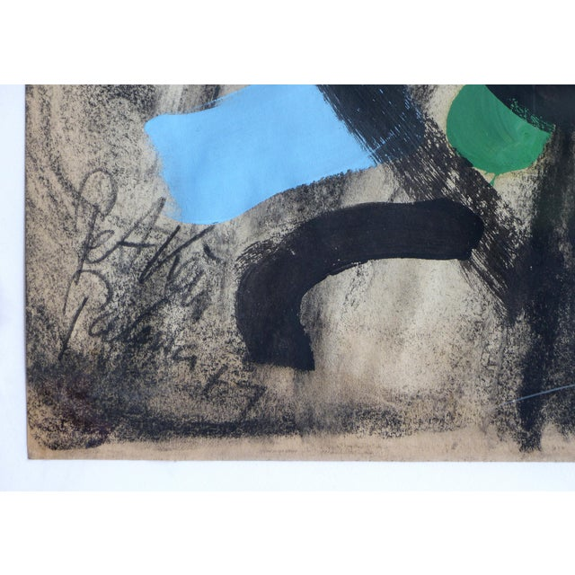 Offered for sale is an abstract mixed media painting by Peter Robert Kiel painted in Palma de Mallorca Spain. The charcoal...